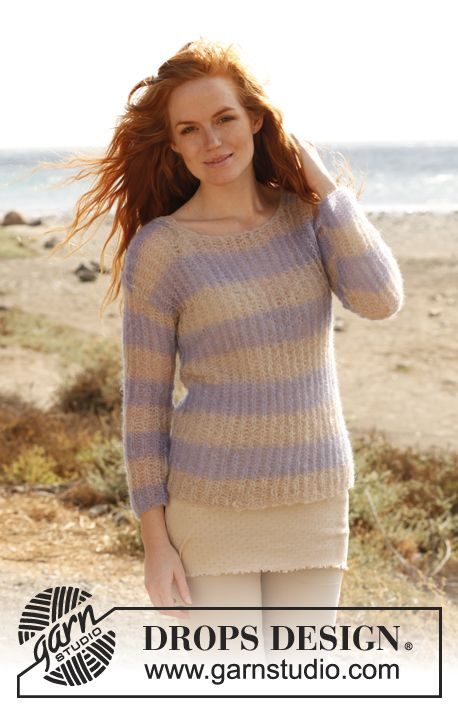 "Knitted DROPS jumper with English rib in ""Vivaldi""  with ¾ sleeves. Size: S - XXXL."