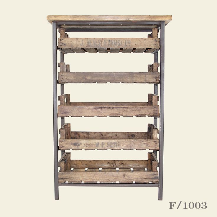 Industrial Bakers Rack in a steel frame with vintage pine farm trays - perfect for a kitchen for storage of crockery, vegetable, kitchen textiles etc