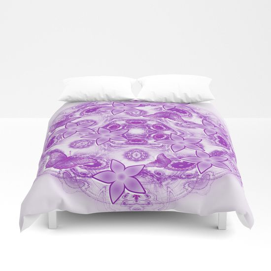 Butterflies and flowers on mystic mandala Duvet Cover  by Wendy Townrow on Society6