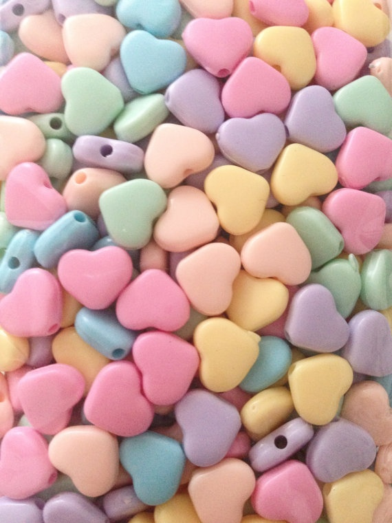 Kawaii Fairy Kei Pastel heart beads to make jewellery