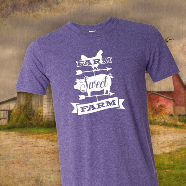 Farm Sweet Farm T-Shirt Farm Girl Barn Weathervane Country Girl Farmer... ($17) ❤ liked on Polyvore featuring tops, t-shirts, red, women's clothing, purple top, multicolor t shirt, multi colored t shirts, multi color t shirts and red top