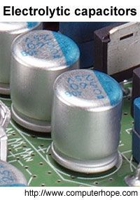 Electrolytic capacitor on a computer motherboard