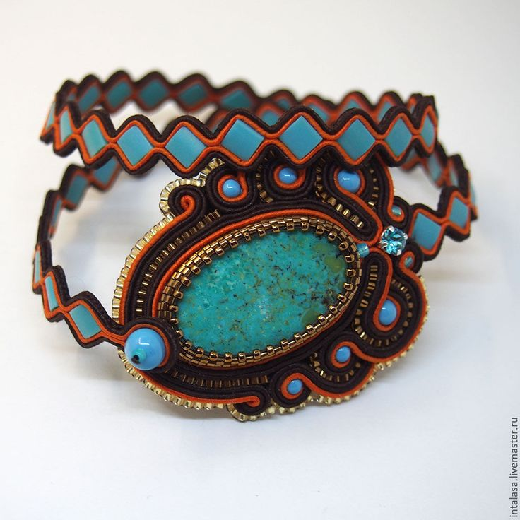Купить Браслет с бирюзой - браслет с бирюзой, сутажный браслет, бирюзовый браслет, сутаж с бирюзой