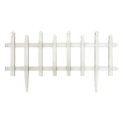 Vigoro 12 in. H White Classic Picket Style Plastic Garden Fence-51502 - The Home Depot