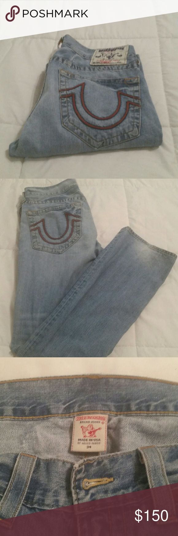 Mens true religion jeans size 34 Mens True religion jeans size 34 inseam 32. lightly worn. Light blue. Great Condition. Offers accepted. True Religion Jeans Straight