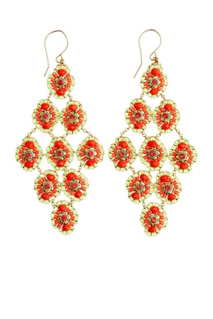 Opal Chandelier Earrings. Made from fire opal quartz and swarovski crystals. these
