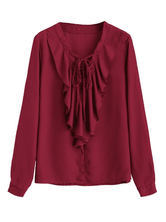 Ruffles Chiffon Lace Up Blouse - WINE RED XL
