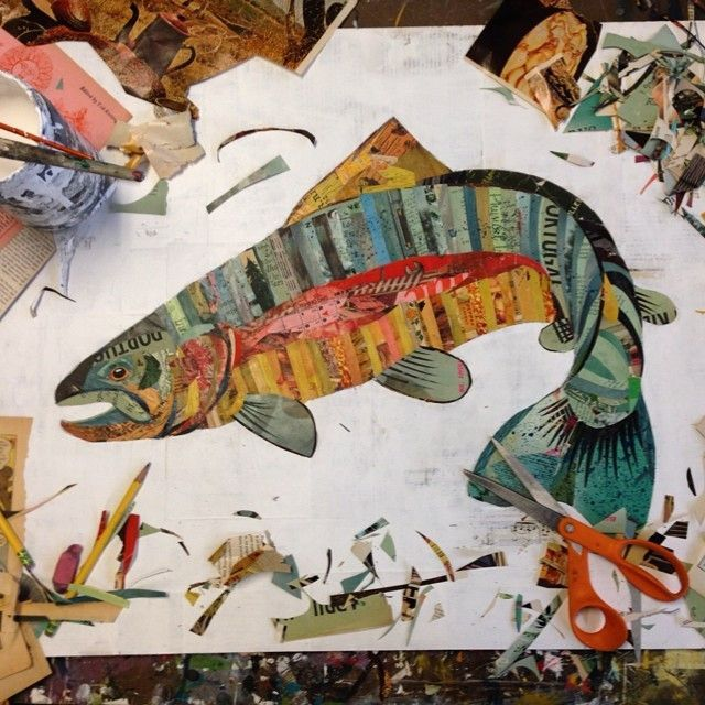 This Rainbow Trout Paper Collage Art by Dolan Geiman is chalk full of inspiration, look at those colors for the #LGLimitlessDesign & #Contest kitchen