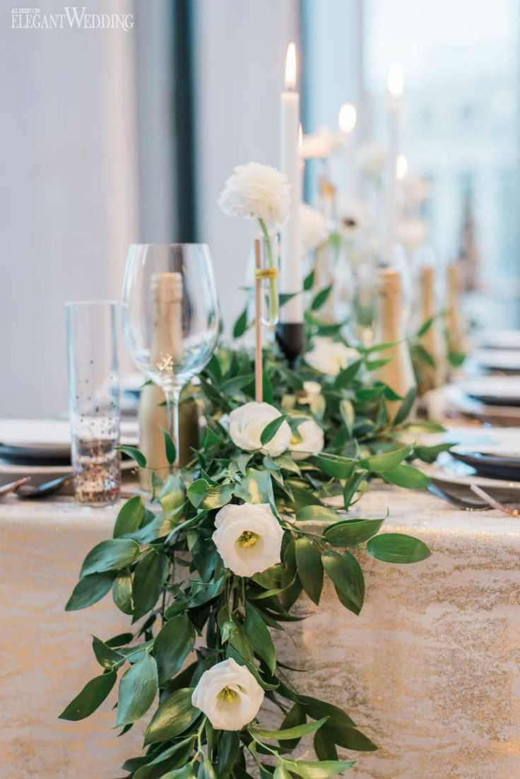 Greenery Floral Runner, Garland Floral Runner, Gold and Green Table Setting | Glam New Year's Eve Wedding Ideas | ElegantWedding.ca