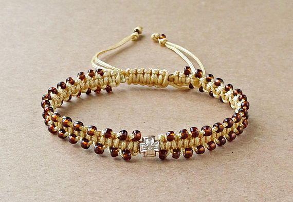 Brown Seed Bead Cross Bracelet Tiny Macrame Bracelet Gift