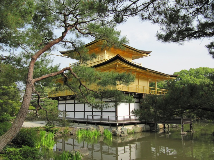 Kyoto - Kinkakuji (Golden Pavilion)   This is a Zen temple in northern Kyoto whose top two floors are completely covered in gold leaf.