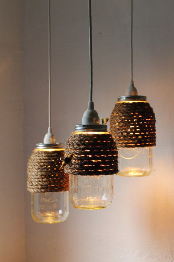 The Hive  Quart Size Mason Jar Pendant Light  by BootsNGus on Etsy, $45.00