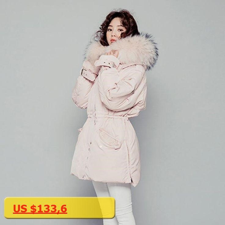 Female Parka 2017 Womens Down Jackets Big Natural Raccoon Fur Collar Thicken Parkas For Women Winter Jacket Duck Down Coat Pink