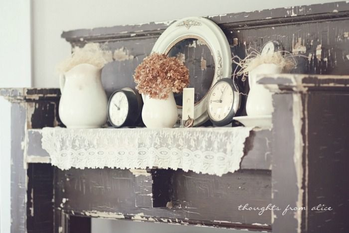 Rustic Farmhouse Mantel. It makes me wonder if you could use an old piano for a mantle, or even just to dress as one.