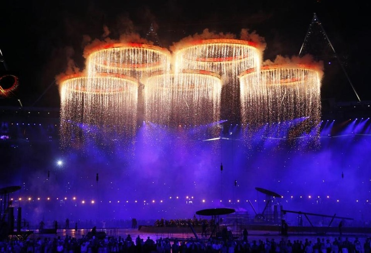 The Olympic rings were illuminated with pyrotechnics during the opening ceremony at the 2012 Summer Olympics on Friday.