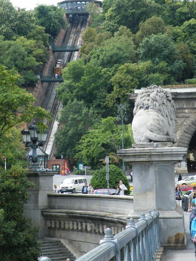 View of the Buda tunnel and funicular from the Chain Bridge in Adam Clark square
