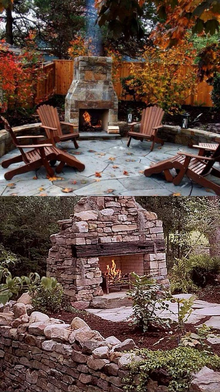 613 best images about Outdoor fireplace pictures on Pinterest on Backyard Outdoor Fireplace id=50852