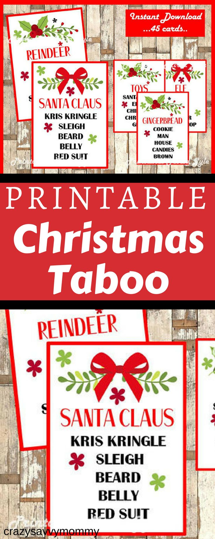 ONLY $2.49!! PRINTABLE Christmas Taboo Game. Celebrate the holidays with this fun and festive Christmas Taboo game includes 45 unique playing cards.TABOO GAME CARDS are perfect for your holiday party with kids, teens or adults. Click the link to get it NOW at Etsy.com! #ad #christmaspartyideas #christmas #diychristmasdecor #printables #christmasgames #kidchristmasparty