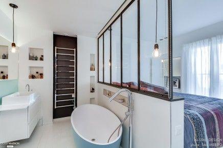 Industriële scheidingswand tussen slaapkamer en badkamer