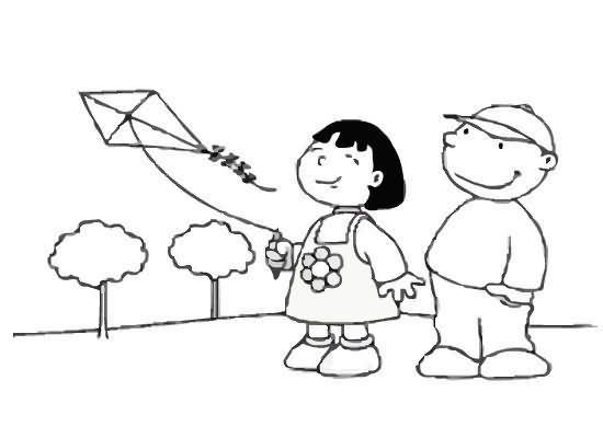 Imagenes de niños elevando cometas para colorear - Imagui   Pasqua ...