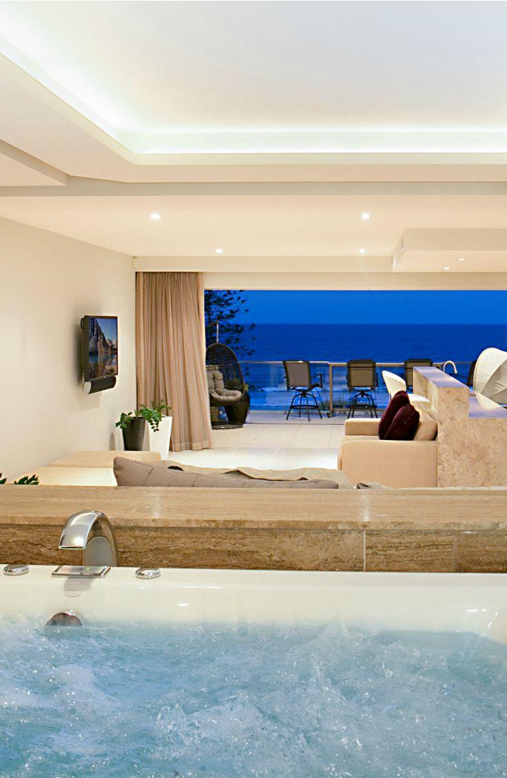 Indoor spa. Elite Holiday Homes, Oceans 74 in Miami, Gold Coast. #luxuryhomes #luxury #beachfront #eliteholidayhomes #affordableluxury #goldcoast #holiday #travel #australia