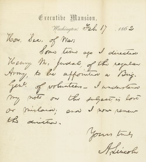 Autograph letter, signed, from President Abraham Lincoln to the Sec. of War…