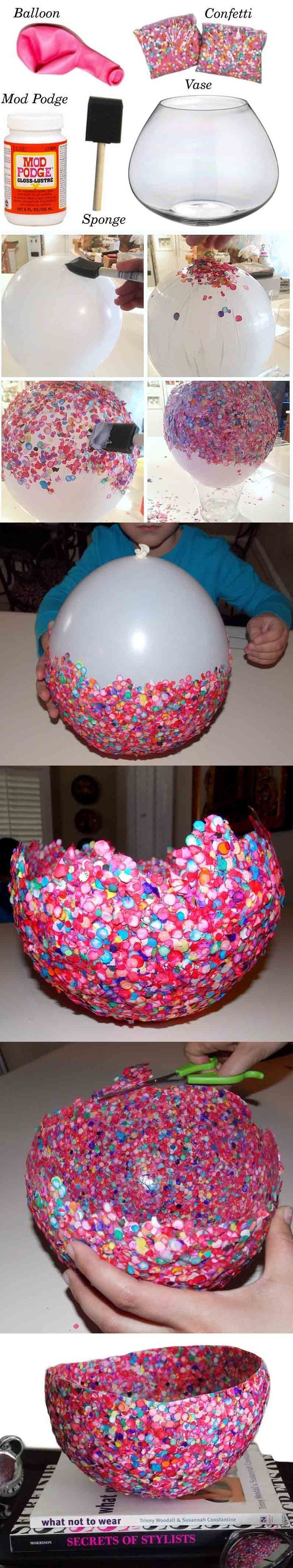 Connaissez-vous tous ce truc pour la confection d'un vase en confettis? À faire soi-même.