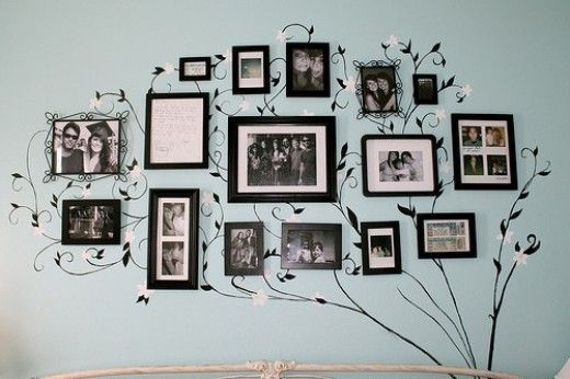 DIY Photo Frame Wall Decor.  This could be cute in the hallway.....