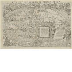 Typus cosmographicus universalis. Weltkarte mit Amerika, Europa, Afrika und Asien