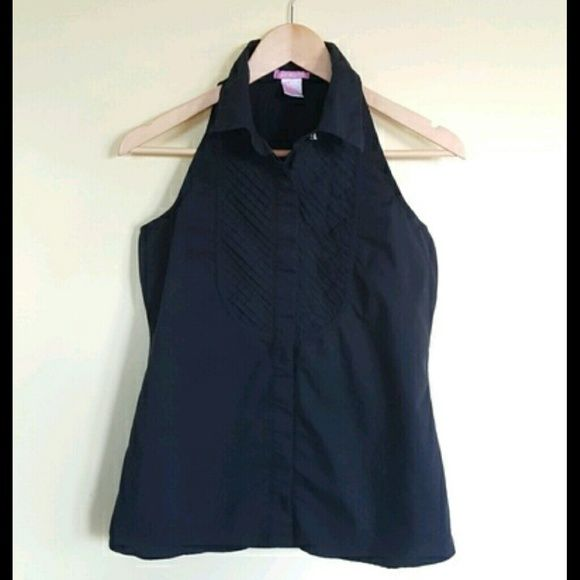 Sleeveless Black Tuxedo Shirt Size Small Pixie Hopkins Black Tuxedo Shirt that has a halter style neck and hidden buttons. Work a few times with no damage. Great with jeans or a skirt. #tuxedoblouse #tuxedoshirt #pixiehopkins #blackshirt Pixie Hopkins  Tops Button Down Shirts