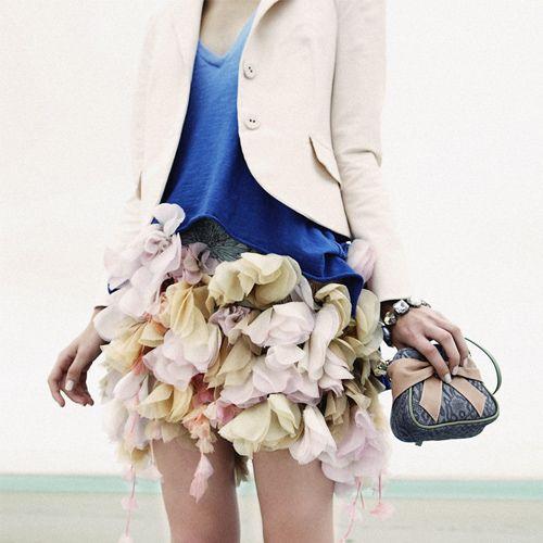 Elegant jacket and floral skirt. #fashion