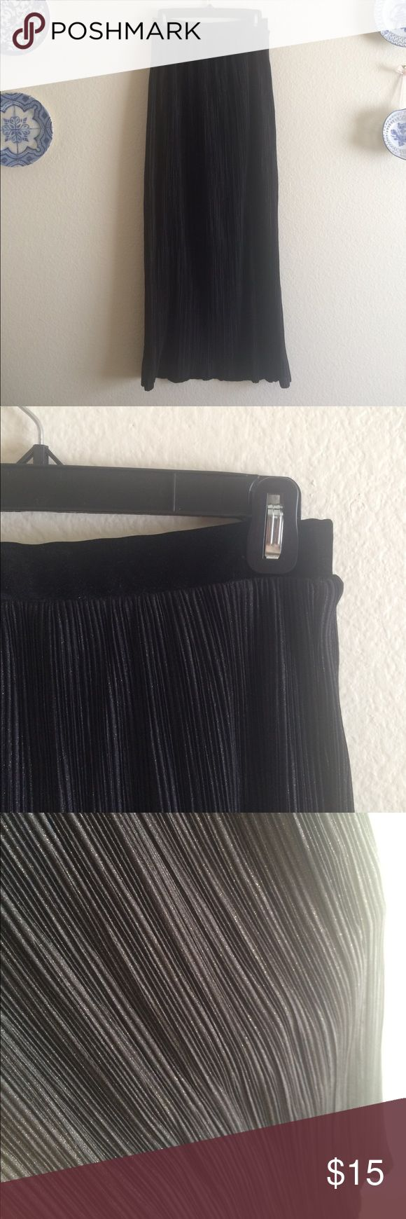 High Waist Black Maxi Skirt 100% Polyester maxi skirt with mini pleat detail and subtle gold shimmer. Velvet waist band. Partially lined. Brand is One Clothing. Sabo Skirt Skirts Maxi