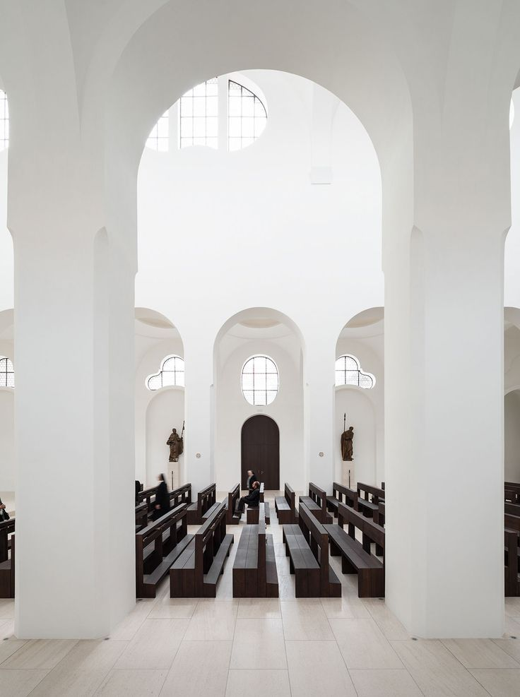St Moritz Church by John Pawson // British architect John Pawson's minimalist remodelling of a church in Augsburg, Germany, includes slices of onyx over the windows to diffuse light more softly through the space. Slices of finely veined translucent white stone were laminated to glass and installed in the choir windows. Source: http://www.yellowtrace.com.au/take-me-to-church-religious-architecture/