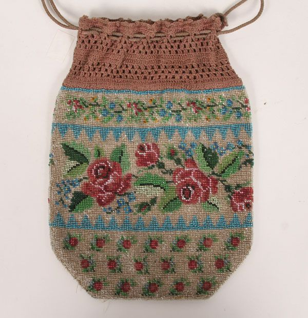 """Victorian crocheted glass beaded drawstring bag/purse with roses decoration.  8 1/2"""" x 6 1/4"""".  No fringe, no damage, lining possibly original."""