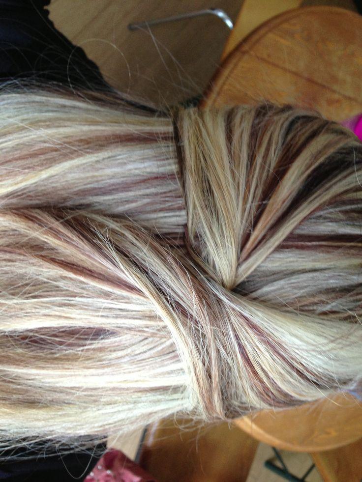 Blonde highlights :) kinda like the dark blonde in there