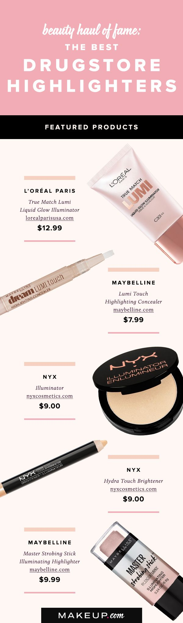 Highlighters use to only be available in department stores, but not any more! These are the best highlighters that can be found at your local drugstore, so see our picks for the best affordable highlighters now.