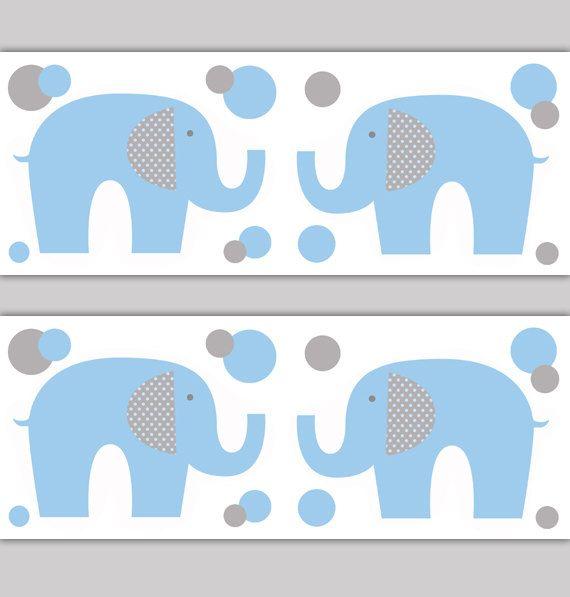 ELEPHANT WALLPAPER BORDER Nursery Decal Blue Grey Gray Boy Safari Animal Wall Art Baby Decor Children's Jungle Bedroom Stickers Kids Room #decampstudios