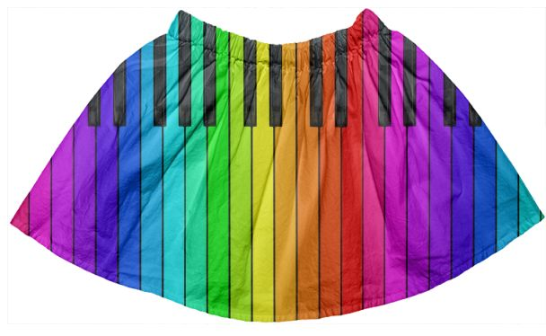 Rainbow Piano Keyboard Kids Full Skirt from PAOM