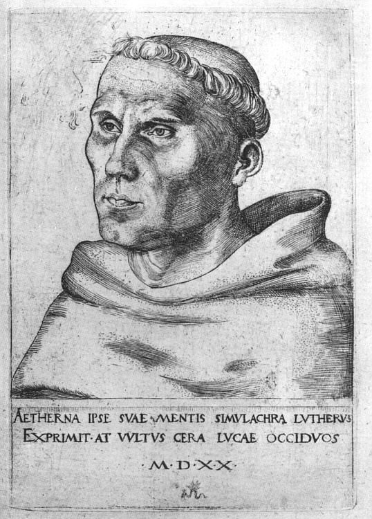 https://www.wikiart.org/en/lucas-cranach-the-elder Martin Luther as a Monk (1520)