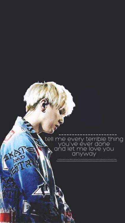 BTS Suga Wallpaper Diga-me cada coisa terrível que você já fez e deixe-me te amar de qualquer maneira.