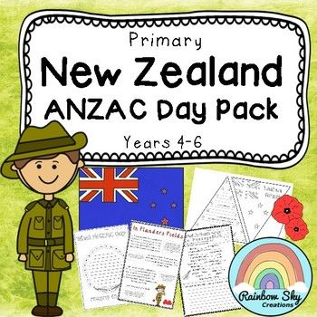 ANZAC Day Pack for New Zealand educators. Within this pack is 15 learning activities that can be used as a sequenced series of lessons or as individual tasks for Year 4 to 6. Most importantly, it has been created to teach students about the importance of ANZAC Day in New Zealand. ~ Rainbow Sky Creations ~