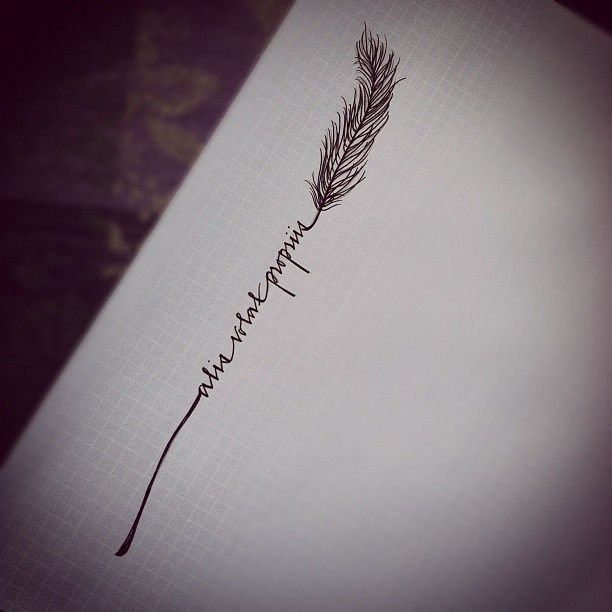 "Tattoo Idea - a script writing bookended by a feather or other similar design-- i love this idea for "" she flies with her own wings"""