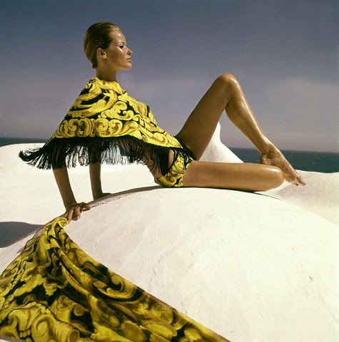 1967 Henry Clarke, Veruschka in Paisley Shawl and Bikini at Beach