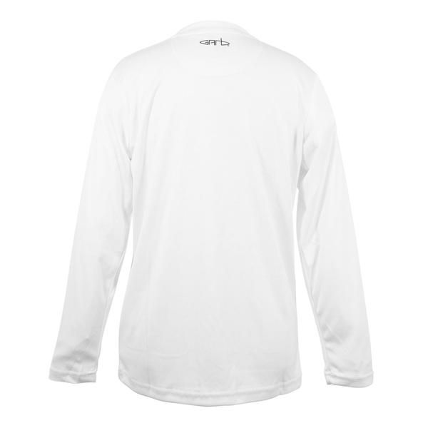 Jesse is a solid white unisex long sleeve sun shirt with SPF 50. Jessie can be worn as a layering piece under any of your favorite Garb junior golf shirts.