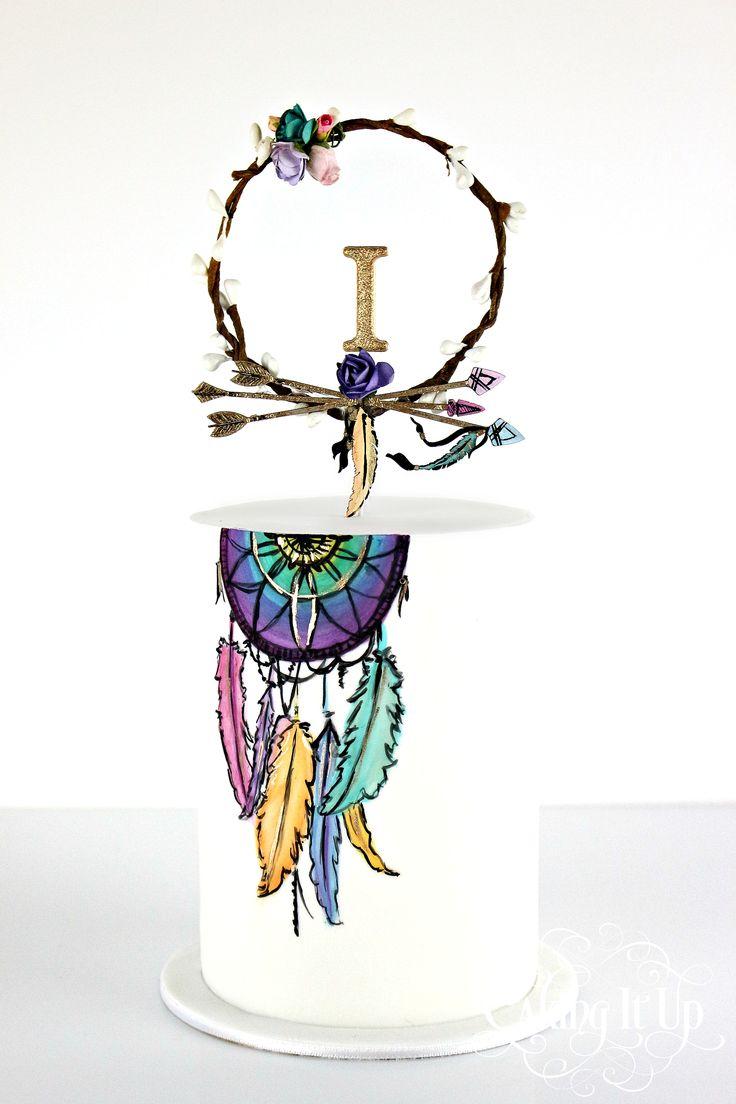 Boho inspired handpainted dreamcatcher birthday ca ...
