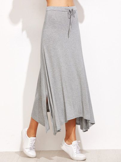 Grey Drawstring Split Hem Asymmetrical Skirt