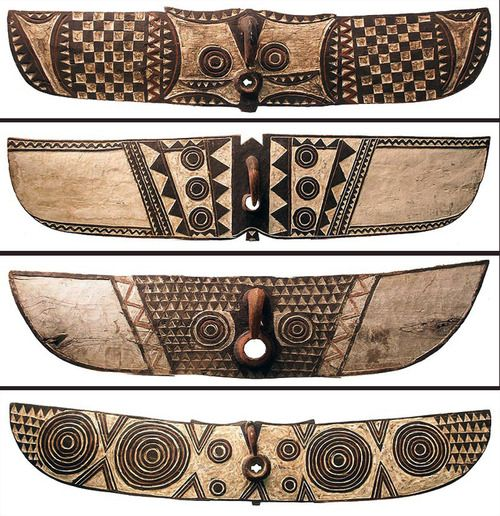West Africa | Hawk/Butterfly masks from the Bwa people of Burkina Faso These wide headdresses transformed the dancer into a supernatural bei...