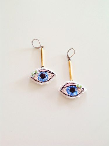 Evil Eye, Embroidered Earrings