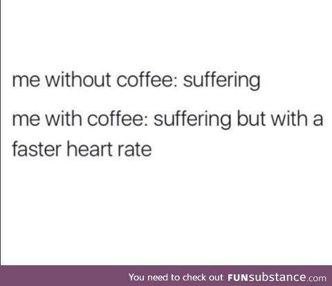 Me without coffee: Suffering