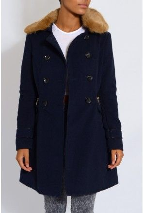 Navy Faux Fur Double Breasted Coat